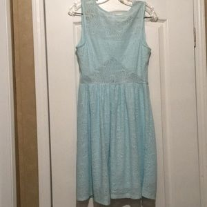 Pre-Owned Teal Blue Color Midi Dress (Size Large)